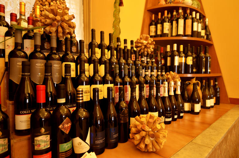 wines of trattoria al camoscio d'abruzzo restaurant in rome